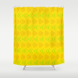 Pattern of intersecting orange hearts and green stripes on a yellow background. Shower Curtain