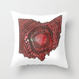 Ohio Red Throw Pillow