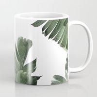 banana leaf Mugs featuring Banana Leaf Frenzy #society6 by 83 Oranges™