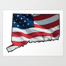 Patriotic Connecticut Art Print