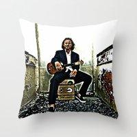 eddie vedder Throw Pillows featuring Eddie Vedder   Oil Painting by Silvio Ledbetter