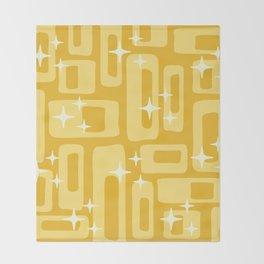 Retro Mid Century Modern Abstract Pattern 127 Yellow Throw Blanket