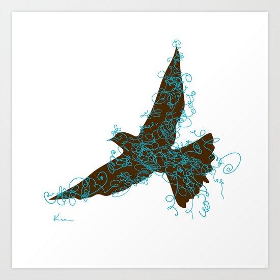 Bird Fly No. 2  (Brown/Aqua) Art Print