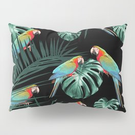 Parrots in the Tropical Jungle Night #2 #tropical #decor #art #society6 Pillow Sham
