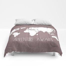Adventure Awaits World Map Comforters