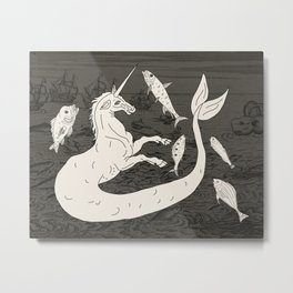 Unicorn Mermaid battle at Sea Metal Print