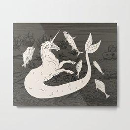 Unicorn Mermaid battle at Sea Metal Print