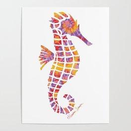 Festival Sunset Seahorse on White Poster