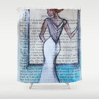 dress Shower Curtains featuring Dress by Sarah Paterson