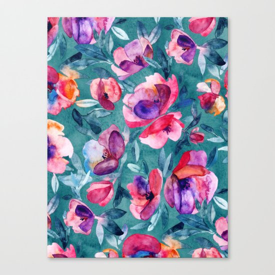 Flourish - a watercolor floral in pink and teal Canvas Print