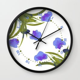 Atom Flowers #34 in purple and green Wall Clock