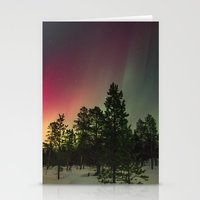 northern lights Stationery Cards featuring Northern Lights  by Limitless Design