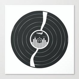 Retro Vinyl Record in Black and White Canvas Print