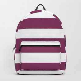 Boysenberry - solid color - white stripes pattern Backpack