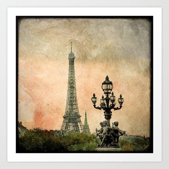 Les Anges de la Tour Eiffel - Paris Art Print