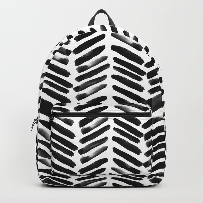 Simple black and white handrawn chevron - horizontal -  #Society6 Backpack