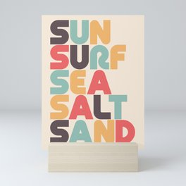 Sun Surf Sea Salt Sand Typography - Retro Rainbow Mini Art Print