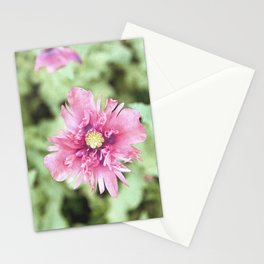 Pink and Green Opium Poppy Stationery Cards