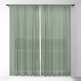 Behr Deep Viridian Green S400-7 - Dark Green Solid Color Sheer Curtain