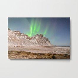 VESTRAHORN AURORA - ICELAND NORTHERN LIGHTS - LANDSCAPE PHOTOGRAPHY PRINT Metal Print