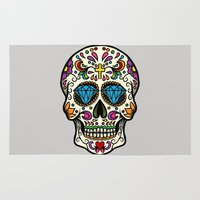 mexican Area & Throw Rugs featuring Mexican Skull by Pancho the Macho