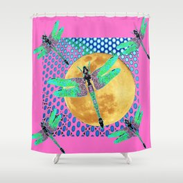 GREEN DRAGONFLIES GOLDEN MOON  P[INK MODERN ART Shower Curtain