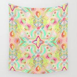 Soft Neon Pastel Boho Pattern Wall Tapestry