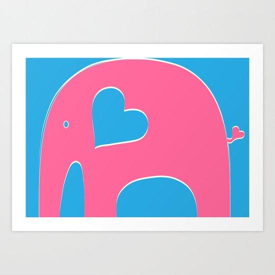 Pink and Blue Elephant Art Print