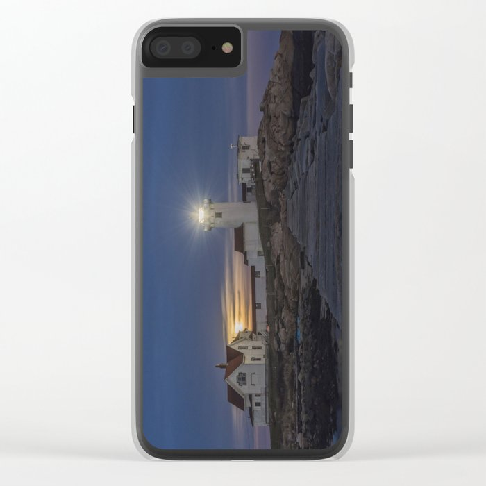 Full moon rising over Eastern point Lighthouse. Clear iPhone Case