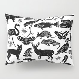 Linocut animals nature inspired printmaking black and white pattern nursery kids decor Pillow Sham