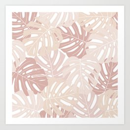 Pastel pink monstera deliciosa Art Print