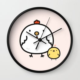 Cute chick and chicken Wall Clock