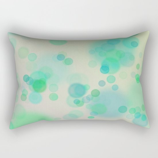 Painterly Blue and Green Circle Abstract Rectangular Pillow