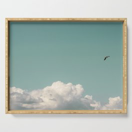Mint Skies and White Fluffy Clouds #1 Serving Tray