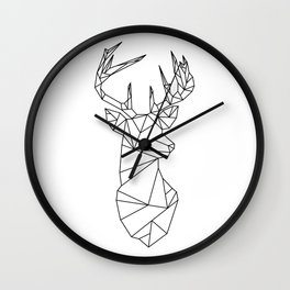 Geometric Stag (Black on White) Wall Clock