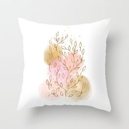 Gold Flowers and Rose Blush I Throw Pillow