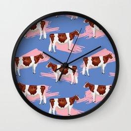 Red & White Holsteins - Pink Splash Wall Clock
