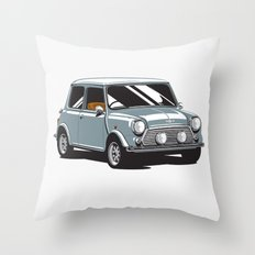 Mini Cooper Car - Gray Throw Pillow