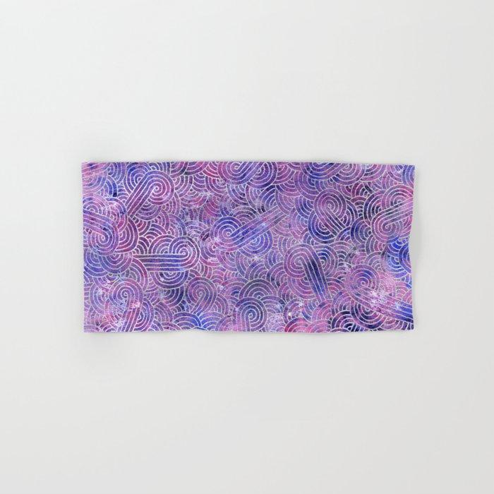 Purple and faux silver swirls doodles Hand & Bath Towel