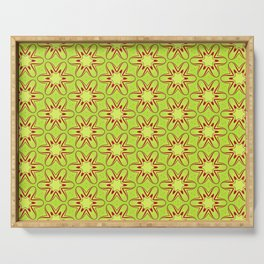 Lime and Red Star Flower Serving Tray