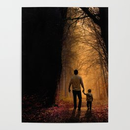 Father and Son in the Woods Poster