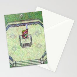 The Legend of Zelda A Link to the Past Master Sword Impressionist Painting Stationery Cards