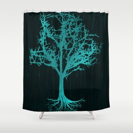Magical Tree At Night Nature Design In Blue Shower Curtain