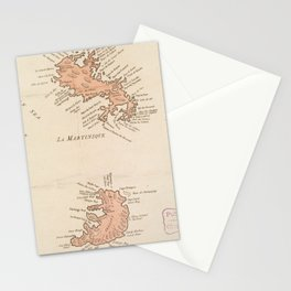 Vintage Map of St Lucia & Martinique (1781) Stationery Cards