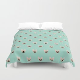 Fawn Frenchie Black Mask French Bulldog Print Pattern on Mint Green Background Duvet Cover