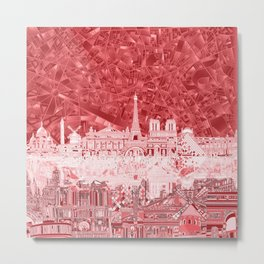 Paris skyline abstract red Metal Print