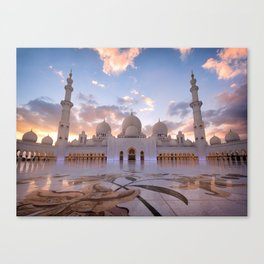 Sunset at the Sheikh Zayed Grand Mosque Canvas Print