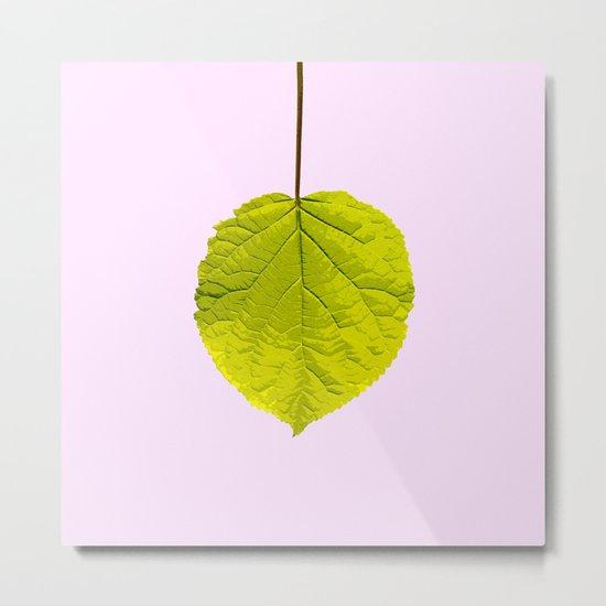 Bright Green Leaf On A Pink Background #society6 #buyart Metal Print