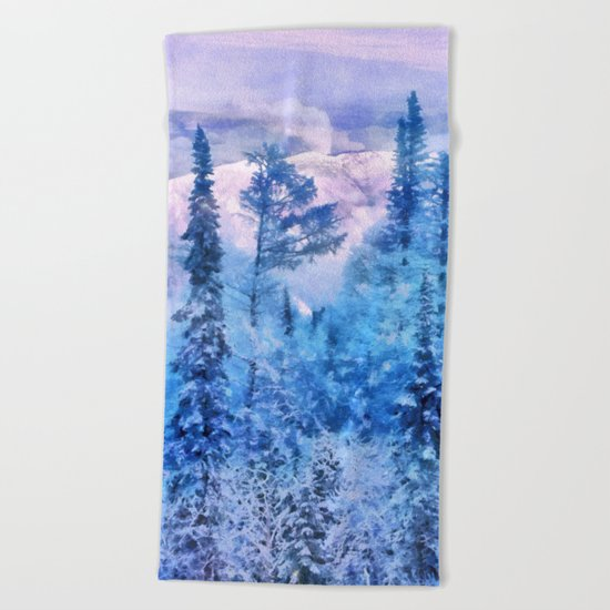 Winter forest in mountains Beach Towel