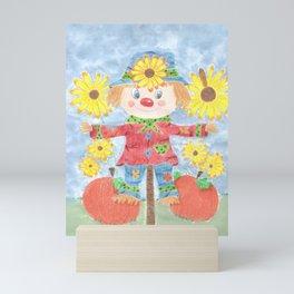 Fall scarecrow Mini Art Print